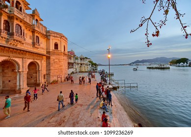 Udaipur ,india -27 april 2016.unidantified indian peoples are relaxing after sunset on Taj Lake Palace on lake Pichola in Udaipur, Rajasthan, India.