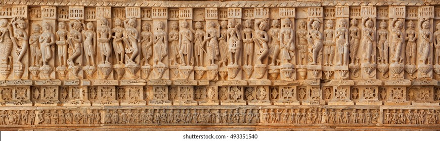 Udaipur, India - Carving on the walls of an ancient temple (Hindu)