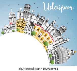 Udaipur India City Skyline with Color Buildings, Blue Sky and Copy Space. Business Travel and Tourism Concept with Historic Architecture. Udaipur Cityscape with Landmarks.