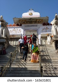 UDAIPUR, INDIA - DEC 2 -Indian pilgrims descend temple stairs on Dec 2, 2009 in Udaipur, India