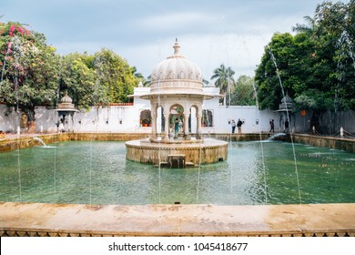 Udaipur, India - December 11, 2017 : Fountain at Saheliyon Ki Bari (Garden of the Maidens)