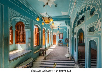 Udaipur, India - FEB 26, 2018: Beautiful blue colored rooms inside Udaipur's city palace. Rajasthan, India.