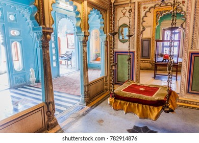 UDAIPUR, INDIA - FEBRUARY 12, 2017: Interior of the city palace in Udaipur, India