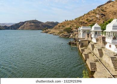 Udaipur, India - February 18, 2019: Lake Badi is artificial fresh water lake near Udaipur. Rajasthan