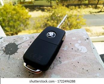 Udaipur, India - February 26 2020: Flip Key of Skoda Rapid | Remote Key of Skoda Rapid and Flip Key