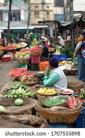 UDAIPUR, INDIA - JAN 7,2020 - Fresh vegetables for sale in the market of Udaipur, Rajasthan, India
