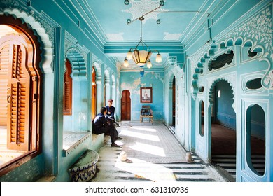 Udaipur, India - January 12, 2017 - Highly decorated Interior of Udaipur City Palace