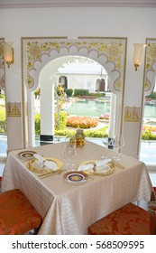UDAIPUR, INDIA - JANUARY 13, 2017: Taj Lake Palace Hotel Restaurant. The Neel Kamal Restaurant, The fine-dining dinner-only restaurant serves authentic flavors of the royal cuisine of Udaipur.