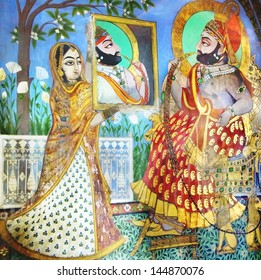 UDAIPUR, INDIA - JANUARY 16: The fresco in the City Palace on January 16, 2012 in Udaipur, India. City Palace was built by the Maharana Udai Singh as the capital of the Sisodia Rajput clan in 1559.