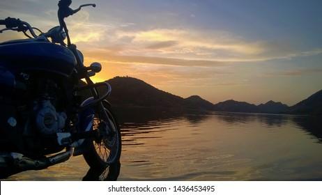 Udaipur, India - June 10 2017: Bajaj Avenger looking beautiful at Lake Side.