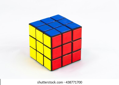 Udaipur, India - June 12, 2016 : Rubik's cube on the white background. Rubik's Cube on a white background. Rubik's Cube invented by a Hungarian architect Erno Rubik in 1974