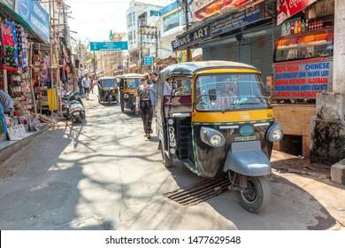 Udaipur, India - March 04 2017: Tuk-tuk rickshaw near the market.