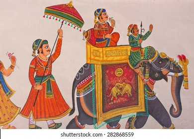 UDAIPUR, INDIA - MARCH 5, 2015: Wall art in the center of the city, displaying the characteristic level of detail shown by traditional Indian miniature painting and typical of the genre in Rajasthan