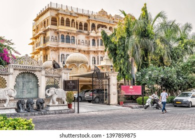 Udaipur, India - November 11, 2018: View at the Entrance gate to Chunda Palace hotel located at the Lake Pichola in Udaipur, India.