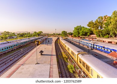 Udaipur, India-October, 2018: The Palace on Wheels is a luxury tourist train of  RTDC to promote tourism in Rajasthan standing Udaipur City railway stationof North Western Railway of Indian Railways.