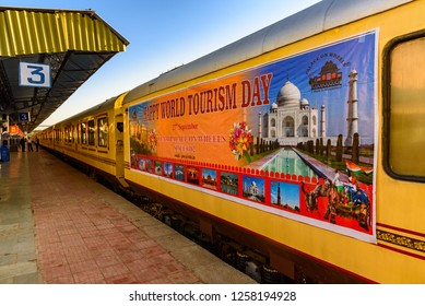 Udaipur, India-October, 2018: The Palace on Wheels is a luxury tourist train of RTDC to promote tourism in Rajasthan standing Udaipur City railway station of North Western Railway of Indian Railways.