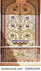 Udaipur, Rajasthan / India - 11 SEP 2019: Beautiful floral seamless pattern at city palace, Udaipur, Rajasthan. Floral seamless pattern background at udaipur city palace in Rajasthan