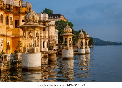 Udaipur, rajasthan, india- August 31, 2019: cenotaphs of bagore haveli at Bank of lake pichola in Udaipur city
