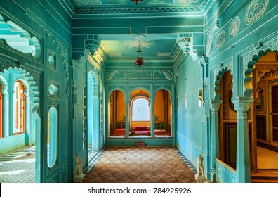 Udaipur. Rajasthan. India - December 30, 2014 : An Internal view of City Palace - Udaipur ; The magnificently designed and decorated interiors of Udaipur City Palace