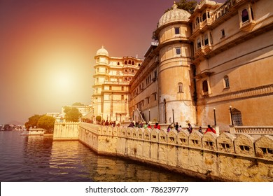 Udaipur. Rajasthan. India - December 30, 2014 : An External view of City Palace by Lake Pichola - Udaipur.