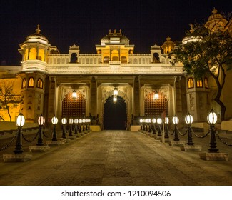 Udaipur, Rajasthan, India - Feb 24 2014 : Exterior of Udaipur City Palace illuminated at night. Built over a period of nearly 400 years, with contributions from several rulers of the Mewar dynasty