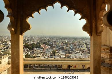 Udaipur, Rajasthan, India - January 22, 2018 : Beautiful view of Udaipur city Palace in Udaipur, Rajasthan, India