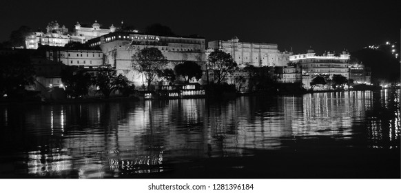 Udaipur, Rajasthan, India-2nd Feb 2014: The reflection of City Palace of Udaipur in the Pichola Lake looks grandeur.