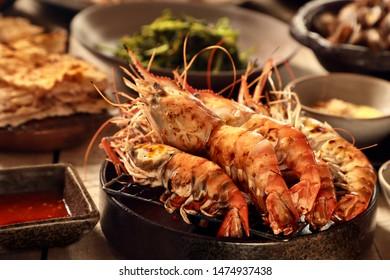 Udang Galah Goreng. Pan-fried giant freshwater prawn.