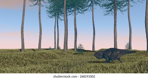 udanoceratops wamking on grassterrain
