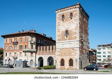 Udine, Friuli Venezia Giulia region, Italy. March 21 2019.  A view of Aquileia old city gate tower.