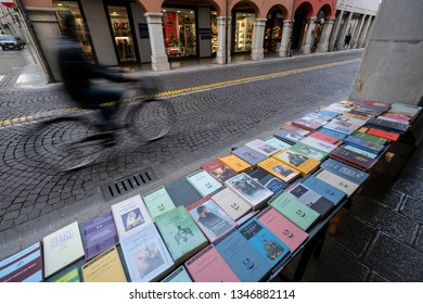 Udine, Friuli Venezia Giulia region, Italy. March 22 2019.   the sale of books on a sidewalk in the city