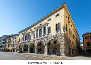 Udine, Friuli Venezia Giulia region, Italy. March 22 2019.   facade of the pawnshop building in Mercatovecchio street