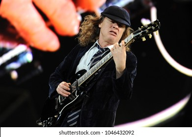 Udine Italy 05/19/2010 : Live concert of ACDC at the Stadio Friuli,Angus Young during the concert