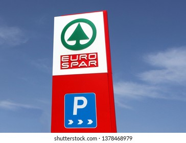 Udine, Italy. April 22 2019. Eurospar logo on a totem sign in a recently opened retail place. It is part of the Spar multinational dutch group, one of the largest food retail store chains in the world