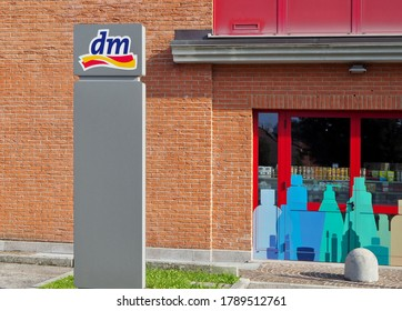 Udine, Italy. August 2, 2020. The logo of dm, Drogerie Markt, outside the recently opened store. It is a german chain selling cosmetics, household products,healthcare items and healthy foods