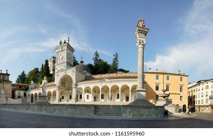 Udine, Italy. August 20, 2018. Panoramic view of Piazza Libertà in the historic center of the city.