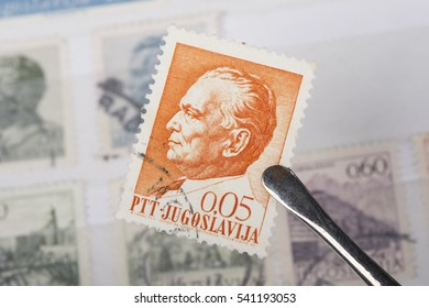 Udine, Italy, december 17, 2016. An old  Yugoslavian  postage stamp in a philatelic collection.