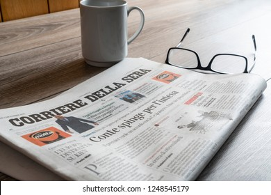 Udine, Italy. December 2, 2018. a View of the Corriere della Sera Italian newspaper on the table
