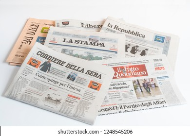 Udine, Italy. December 2, 2018.  view of some italian newspapers on the table