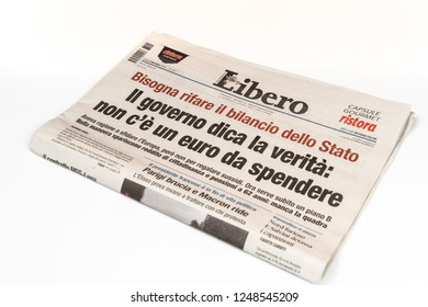 Udine, Italy. December 2, 2018. The Libero Italian newspaper on the table