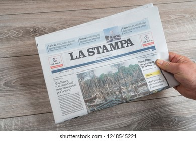 Udine, Italy. December 2, 2018. A view of La Stampa Italian newspaper on the table