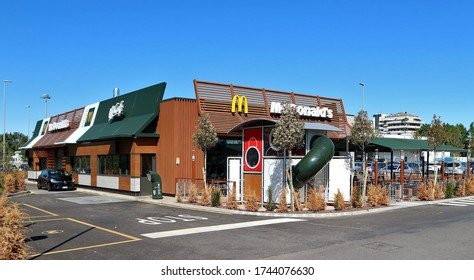 Udine, Italy. May 29, 2020. New McDonalds and McDrive restaurant just open in the city with children playground outside