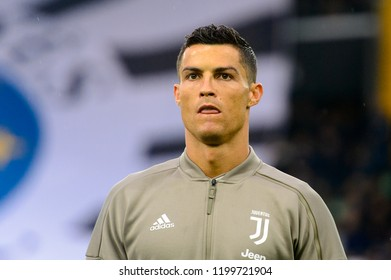 UDINE, ITALY - OCT 6, 2018: Cristiano Ronaldo portrait close up before the match. Warming up. Udinese - Juventus. Serie A