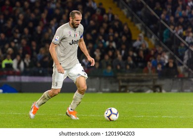 UDINE, ITALY - OCT 6, 2018: Giorgio Chiellini does a pass with a ball. Udinese - Juventus. Dacia Arena stadium. Serie A TIM