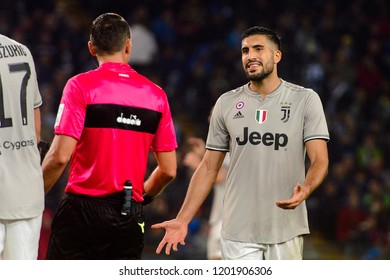 UDINE, ITALY - OCT 6, 2018: Emre Can speaks to the referee. Udinese - Juventus. Dacia Arena stadium. Serie A TIM