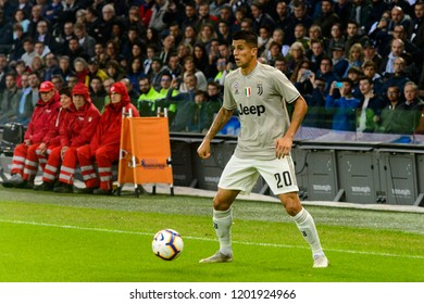 UDINE, ITALY - OCT 6, 2018: Joao Cancelo with a ball. Udinese - Juventus. Dacia Arena stadium. Serie A TIM