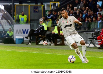 UDINE, ITALY - OCT 6, 2018: Alex Sandro with the ball. Udinese - Juventus. Dacia Arena stadium. Serie A TIM