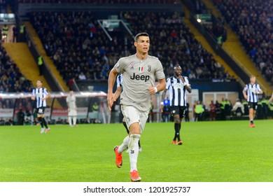 UDINE, ITALY - OCT 6, 2018: Cristiano Ronaldo accelerates. Udinese - Juventus. Dacia Arena stadium. Serie A TIM