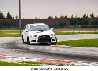 UDINE, Italy - OCTOBER 10, 2012: Mitsubishi EVO 10 in Autodromo di Precenicco  UDINE. The Lancer Evolution X features a newly designed 4B11T 2.0L (1998cc) turbocharged, all-aluminium inline-4  engine.