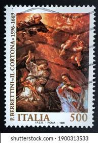 Udine, January 22, 2021. Pietro Berrettini called also Il Cortona  on a commemorative Italian postage stamp